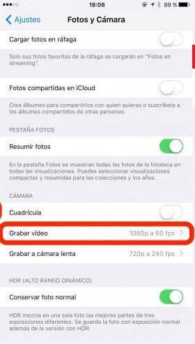 Cambiar resolucion de video iphone 2